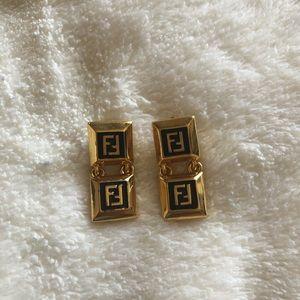 Authentic Vintage Fendi dangle logo earrings